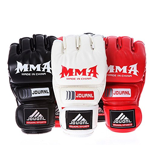 [Pansupply 1 Pair White Half mitts mitten Boxing gloves Muay Thai kick boxing MMA train gym gloves] (Thailand National Costume For Girls Kids)