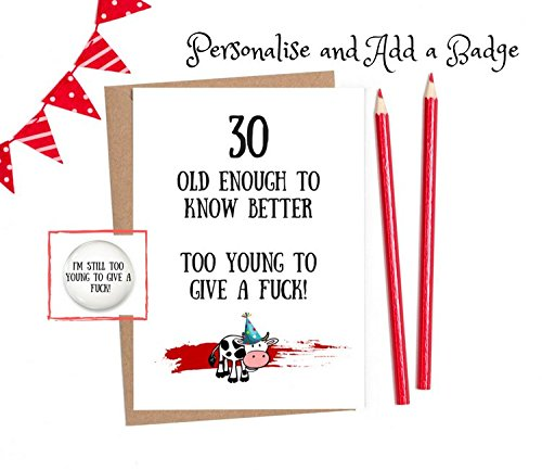 Funny 30th Birthday Cards For Men Women 1 X Card With Option To Personalise And Add
