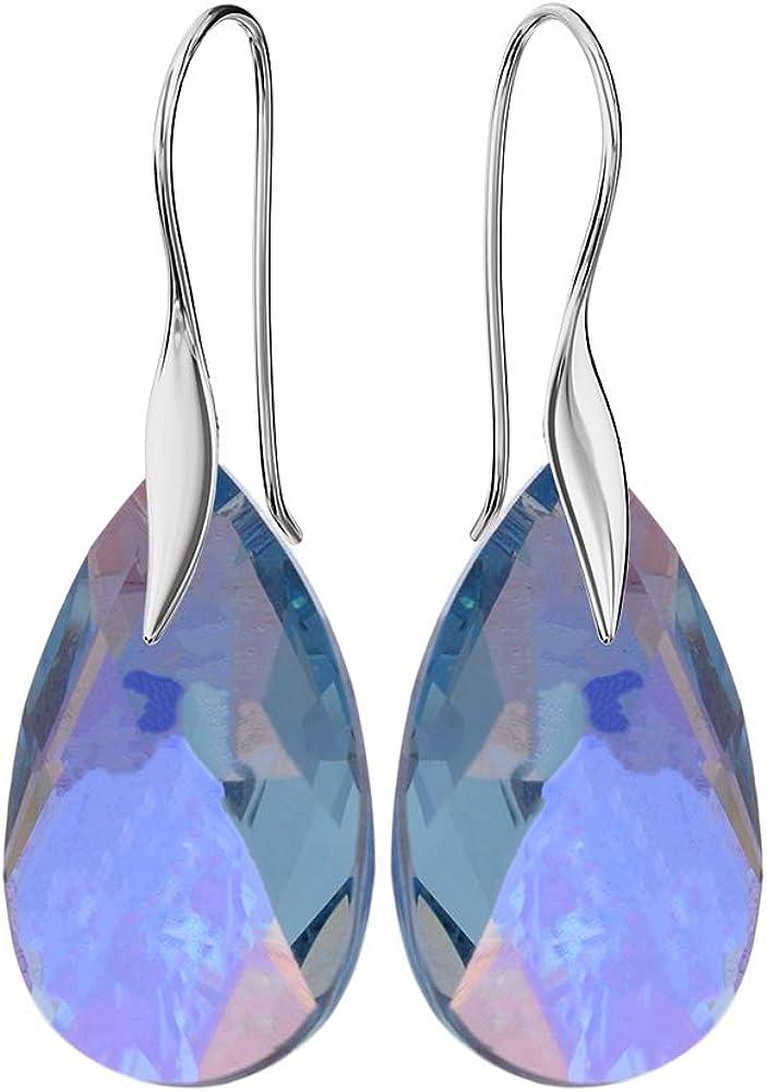 Crystals & Stones Ganchos * mandele * 22MM Color * Aqua Marine a partir de * Schön Pendientes–Pendientes con Cristales de Swarovski Elements–Fantástica estuche Pendientes con.