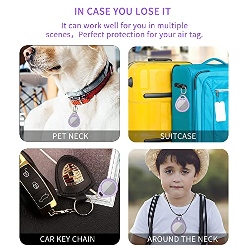 Case for Apple Airtag, for Airtag Keychains, Airtag Holders, Air Tag Holder Accessories Not Easy to Fall Off.(Purple)