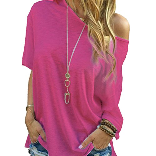 Price comparison product image Laimeng T-Shirt,Women's Sleeve Casual Tops White T-Shirt (L, Hot Pink)