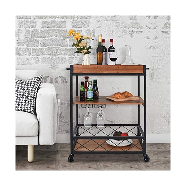 CharaVector Solid Wood Bar Serving Cart,Rolling Kitchen Storage Cart for the Home with Wine Glass Rack and Lockable…