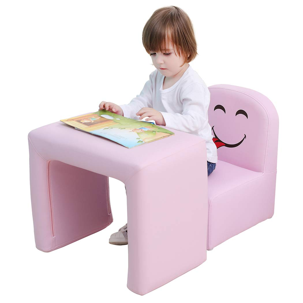 Multifunctional Children's Armchair, Emall Life Kids Chair and Table Set/Stool with Funny Smile Face for Boys and Girls (Green) EM0120