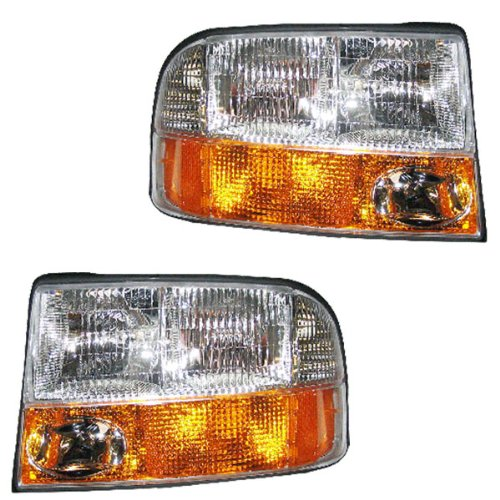 New Aftermarket Passenger & Driver Side Headlight Pair That Fits A 1998-2004 GMC Sonoma & 1998-2001 GMC Jimmy, DOT SAE Approved, Composite Combination Type, OE Replacement, Clear Plastic Lens, With Bulbs