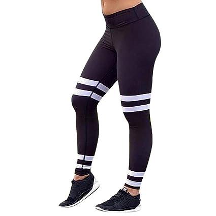 0d2b6ca1d8696c Amazon.com: Smdoxi Yoga Pants♥Women's High Waist Tummy Control Workout  Running Stretch Yoga Leggings White Stripe (Black, L): Home & Kitchen