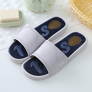 DogHaccd Zapatillas,La palabra fresca zapatillas verano hombre de fondo blando masaje acupresión zapatillas de baño baño antideslizante home zapatillas: ...