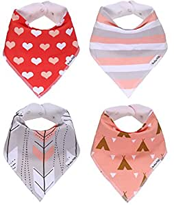 """American Kiddo Baby Bandana Drool Bibs for Girls 100% Waterproof Organic Cotton With Snaps and Back Pocket (4-Pack) for Drooling and Teething Babies and Toddlers - """"Sweetheart"""" Gift Set"""