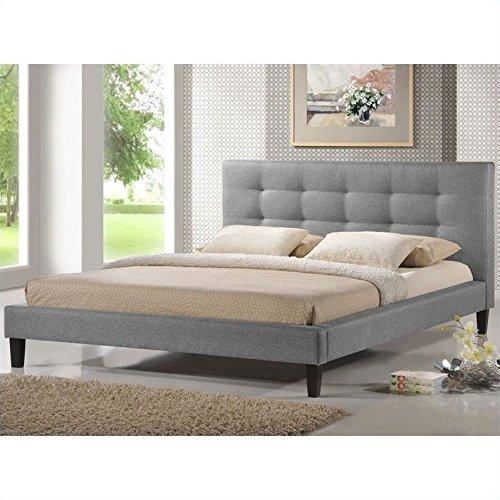 Baxton Studio Quincy Linen Platform Bed, Queen, Gray