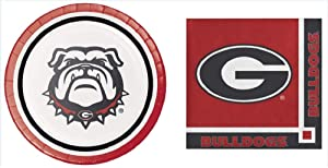 Georgia Bulldogs Dessert Plates (16) Beverage Napkins (20) Bundle