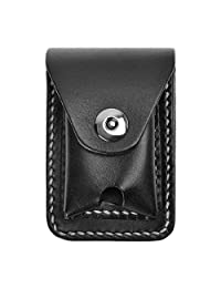 ZLYC Handmade Genuine Leather Cigarette Case Pouch Waist Belt Loop Cigarette Pack Box with Lighter Holder