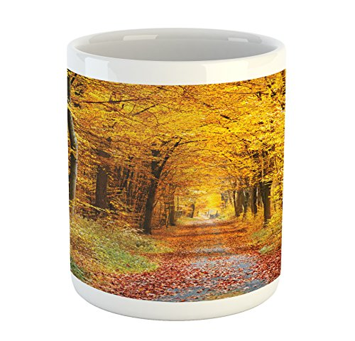 - Ambesonne Forest Mug, Seasonal Foliage Leaves Bushes in Autumn Colors Countryside Pathway in Forest, Printed Ceramic Coffee Mug Water Tea Drinks Cup, Yellow Brown