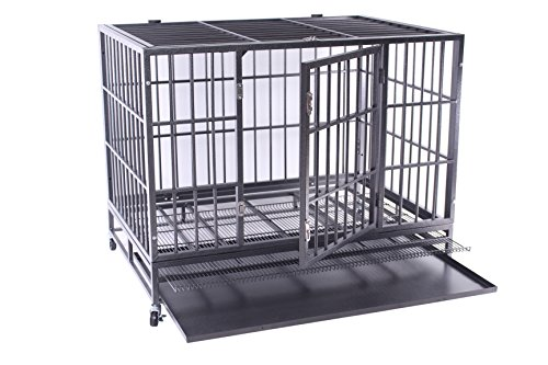 "Haige Pet Heavy Duty Dog Crate 48"" Extra Large Metal Dog Kennel Cage with w/Wheels and Tray Black"