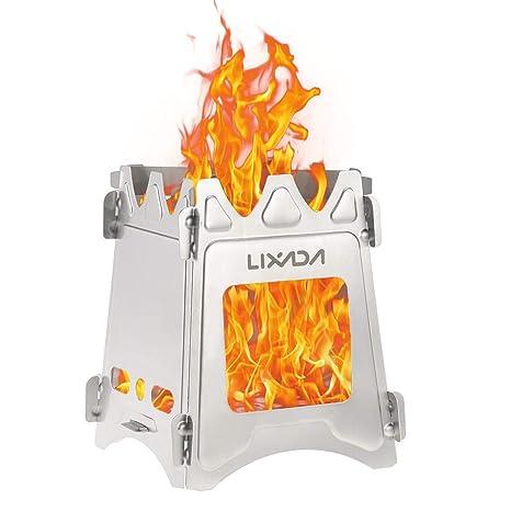 Lixada Estufa de Leña Compacto Plegable para Cámping Cocina Picnic Al Aire Libre