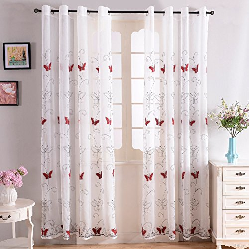 Top Finel Long Voile Window Drapes for Bedroom Sheer Grommet Panels with Embroidered Butterfly Design, 54