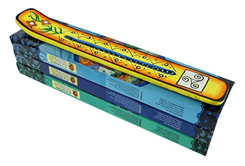 Incense Gift Pack | 1 Hand Painted Incense Burner and 3 Boxes of Incense | Triskelion Design | Yellow | by ZenScents Incense -