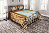Lunarable Shutters Bedspread Set Queen Size, Weathered Facade of A Mountain Hut Mountain Reflection in The Window Picture, Decorative Quilted 3 Piece Coverlet Set with 2 Pillow Shams, Beige Blue Teal