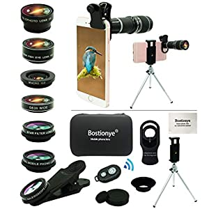Cell Phone Camera Lens Kit,11 in 1 Universal 20x Zoom Telephoto Lens,0.63Wide Angle+15X Macro+198°Fisheye+2X Telephoto+Kaleidoscope+CPL/Starlight/Eyemask/Tripod/Remote Shutter,for Most Smartphone