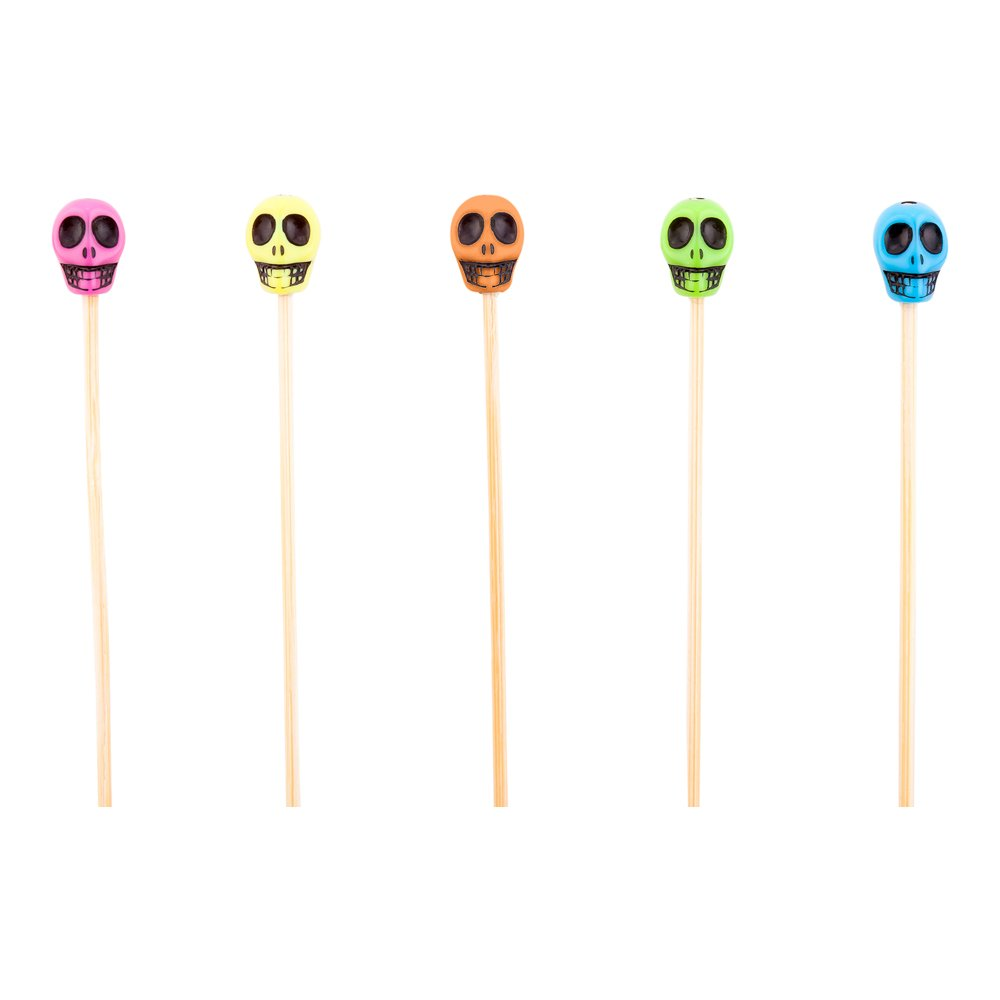 Skull Bamboo Skewer - 4-inch Natural Bamboo Color Skewers: Perfect for Serving Appetizers and Cocktail Garnishes - Wood and Acrylic Skull - 1000-CT - Biodegradable and Eco-Friendly - Restaurantware