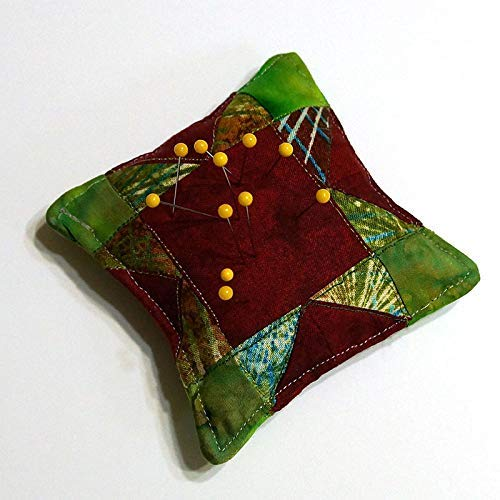 Quilted Pin Cushions - Quilted Pincushion Paperweight Traditional Patchwork Mini Block Sawtooth Star Organic Fill and Cotton Fabric