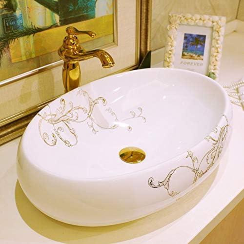 浴室設備アクセサリ 容器シンク浴室容器シンクセラミック盆地スクエアレトロバニティ船舶のバスルームには、シンク浴室の低下をシンク (Color : B.Sink+Faucet, Size : 52*40*15cm)