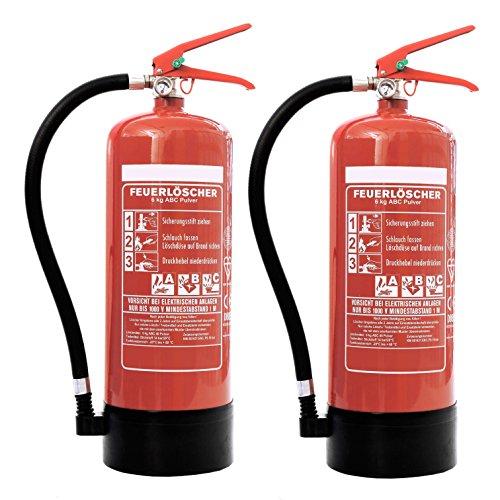 Feuerlöscher 2x 6kg ABC-Pulverlöscher mit Manometer EN 3 inkl. ANDRIS® Prüfnachweis mit Jahresmarke &. ISO-Symbolschild