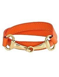 Bling Jewelry Orange Leather Gold Plated Steel Horses Bit Wrap Bracelet