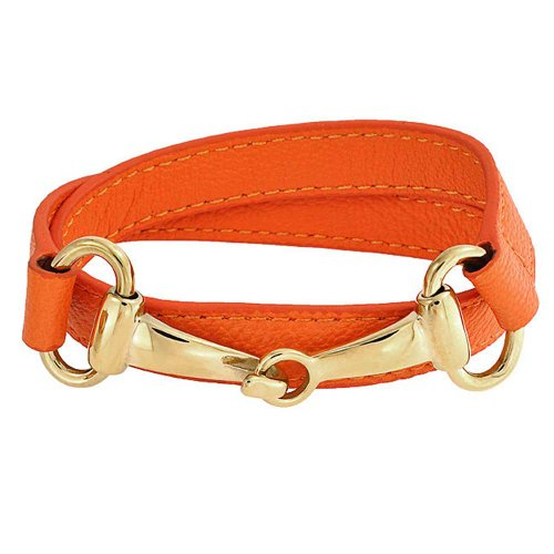 Bling Jewelry Orange Genuine Leather Horse Bit Cow Equestrian Wrap Bracelet for Women for Teen Gold Plated Stainless Steel