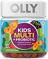 OLLY Kids Multi + Probiotic Gummy Multivitamin, 35 Day Supply (70 Count), Yum Berry Punch, Vitamins A, C, D, E, B, Zinc, Pro