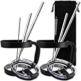 10 Pieces 20oz Tumbler Holders Handles + Tumbler Lids + Stainless Steel Straws + Cleaning Brushes, SourceTon Accessories Kit for Yeti Rambler,  Rtic (Lids for Old Style ), Ozark, Trail, Berg, SIC