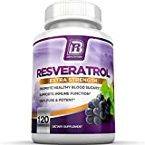 BRI Nutrition Resveratrol - 1200mg Maximum Strength Supplement - 60 Day Supply - 120 Veggie Capsules - 2 Capsules Per Serving