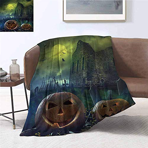 DILITECK Throw Blanket Halloween Pumpkin in Spooky Grave Fall Winter Spring Living Room W70 xL93 Traveling,Hiking,Camping,Full Queen,TV,Cabin