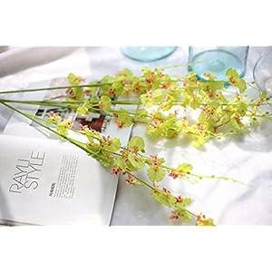 Coobl Artificial silk flower Senior decoration Butterfly orchid bouquet flower wedding bouquet bride holding garlands vine DIY Floral art plant bride Home Decor(10pcs) (Green) 54