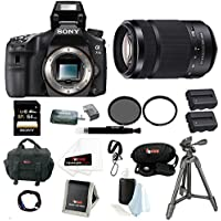 Sony A77II ILCA-77M2Q ILCA77M2Q Digital SLR Camera - Body Only + Sony SAL55300 DT 55-300mm F4.5-5.6 SAM Zoom Lens + Sony 64GB SD Card + Sony Tripod + Tiffen 62mm UV Protector and Circular Polarizer Filter + Two Replacement NP-FM500H Batteries and Deluxe Ac