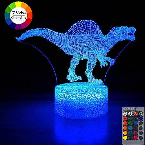 Dinosaur Night Light for Kids,Dimmable 3D LED Lamp Nightlight ,16 Colors +7 Colors Changing,Touch &Remote Control,Best Dinosaur Toys Birthday Christmas Gifts for Boys Girls (Dinosaur Spinosaurus)
