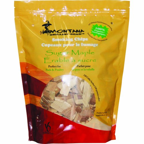 Montana Grilling Gear Smoking and Cooking Wood Chips – 100% Organic and Pesticide Free - Safe for Grills and Smokers - 220 Cubic Inch Bag - Sugar Maple - SC220-SM by Montana Grilling Gear