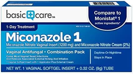 Basic Care Miconazole 1 Vaginal Antifungal Combination Pack