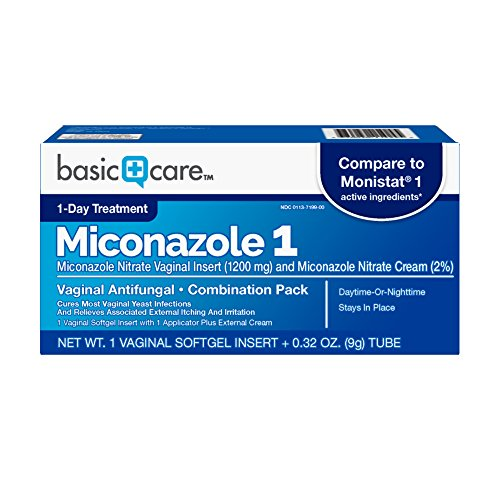 Basic Care Miconazole 1 Vaginal Antifungal Combination Pack (Best Antibiotic For Yeast Infection)