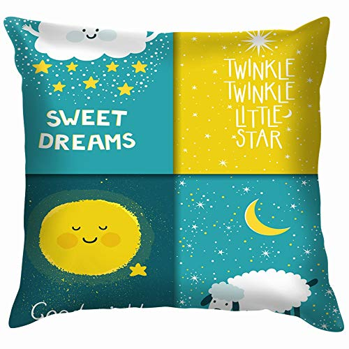 Living Bedding Twinkle - Set Four Night Cards Cute Star Funny Square Throw Pillow Cases Cushion Cover for Bedroom Living Room Decorative 12X12 Inch