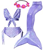 3PCS Girl's Mermaid Swimsuit for Swimming Princess Swimmable Bikini Set Holiday Birthday Party Pool Party Beach (Child XXL/10-13, A Violet)