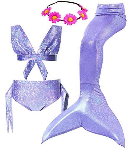 4Pcs Halloween Girl's Mermaid Tails Swimsuit Bikini Set