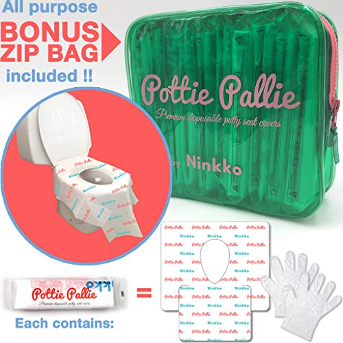 Pottie Pallie Premium Quality Disposable Toilet Seat Covers (w Bonus Zip Bag+Gloves) Individually Wrapped X Large & Thick Non-Slip Waterproof Hygiene Potty Shields (10pcs) by ()