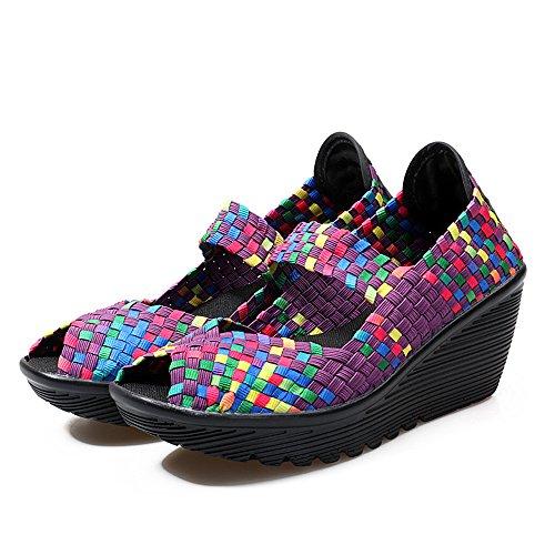 Laiwodun De Las Mujeres Tacón Alto Plataforma Sandalias Verano Respirable Casual Zapatos Tejidos Mujeres Entrenador Ponerse Zapato de Agua Púrpura