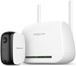 Battery Security Camera, Foscam E1 1080P WiFi Outdoor Security Camera System with Rechargeable Battery, Motion Detection, Two-Way Audio, Night Vision, Indoor/Outdoor, Free Cloud Storage