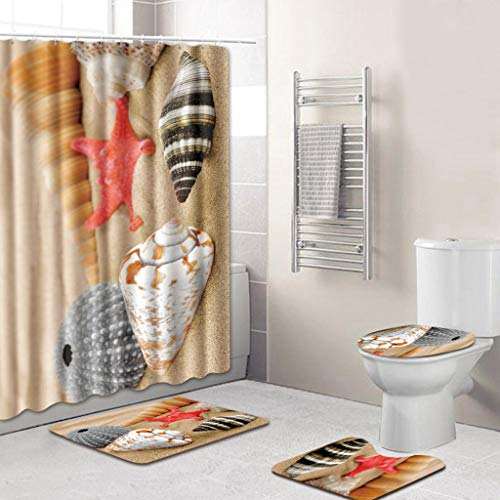 (Alimao 4PCS Sea Style Non Slip Toilet Polyester Cover Mat Set Bathroom Shower Curtain)