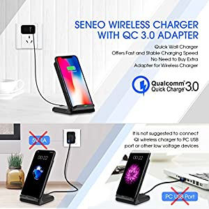 Seneo iPhone X Wireless Charger, Fast Wireless Charger Stand (Upgraded with QC 3.0 Adapter) for Samsung Galaxy Note 8 S8 Plus S7 Edge S7 S6 Edge Plus Note 5, Standard Charge for iPhone X 8 8 Plus