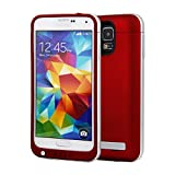 Galaxy S5 Battery Case, NewNow 4200mah USB Portable Backup Power Bank Charger Cover External Battery Case for Samsung Galaxy S5 (Red+Silver)