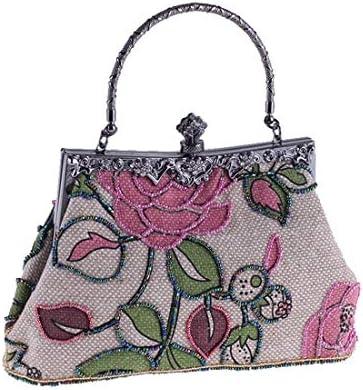 財布ビーズバッグ、エスニックスタイルのリネンカジュアルイブニングバッグ、チャイナハンドバッグ付きクラシック、22 * 14 * 7 Cm(カラー:ピンク) 美しいファッション (Color : Pink)