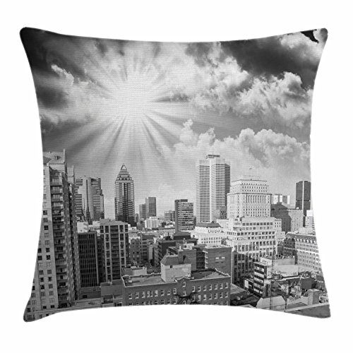 Black and White Throw Pillow Cushion Cover by Ambesonne, Aerial View Montreal Canada Cityscape with Skyscrapers Architecture, Decorative Square Accent Pillow Case, 18 X 18 Inches, Black White Grey (Bath Bench Canada)
