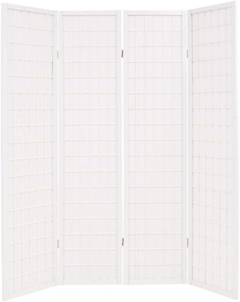 Festnight Paravent 160 x 170 cm Blanc en Bois Cloison de S/éparation 4 Panneaux