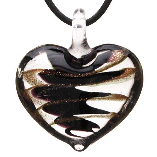 Designer Murano Inspired Glass - Black and Gold Tornado - Heart Pendant Necklace Set - Fashion Interchangeable Jewelry - - Gold Foil Glass Heart Pendant